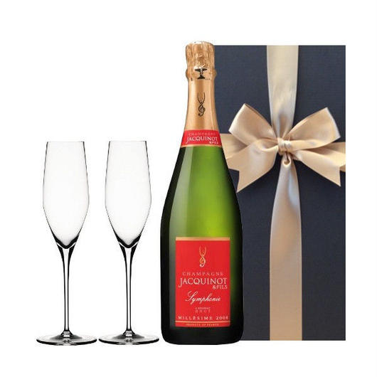 フランス高級ヴィンテージシャンパン「ジャキノ・エ・フィス、シンフォニー・ミレジメ2007」とペアシャンパングラスセット