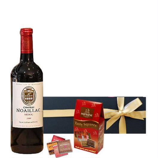 チョコレートとボルドーワインのギフト、フランス、ボルドー・グラン・ヴァン、赤ワイン、375ml、辛口、ナポリタンチョコレートのセット (個別包装、12個入り)