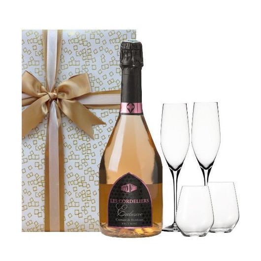 フランス   ボルドー地方の本格スパークリングワイン レ・コードリエ「エクスクルーシブ・ドライ・ロゼ」とグラス のセット