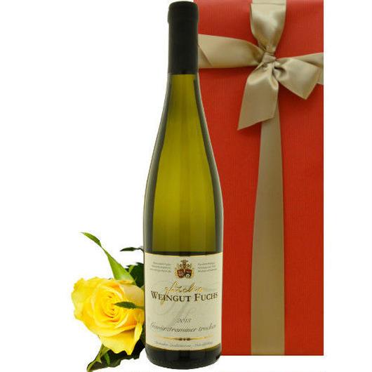 ワインとお花のギフト ドイツのフルーティーなワイン「ゲヴュルツトラミネール」と、黄色のバラ