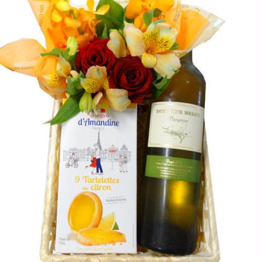 ワインとスイーツのギフト 生花アレンジメント付 フランスの辛口白ワイン ヴィオニエ 750ml レモン味のクッキー 黄色とオレンジのお花