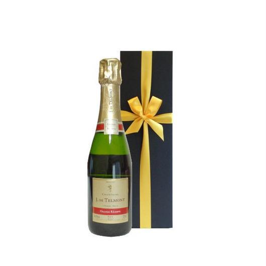シャンパンの正統派メゾン「ジャック ド テルモン」の高級シャンパン ハーフボトル、箱入り