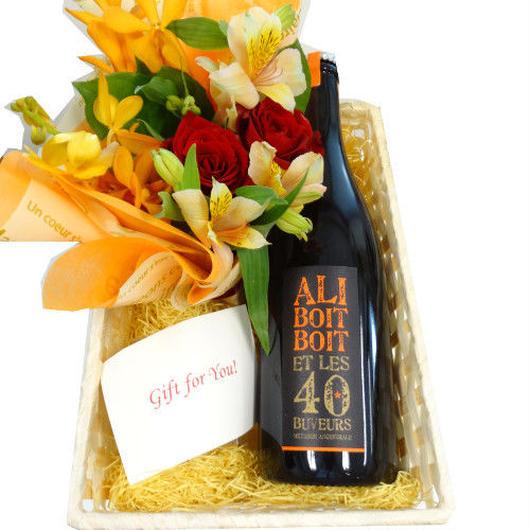 お花とスパークリングギフトセット  ブルゴーニュのビオ・スパークリング 辛口 自然派 生花のフラワーアレンジメント