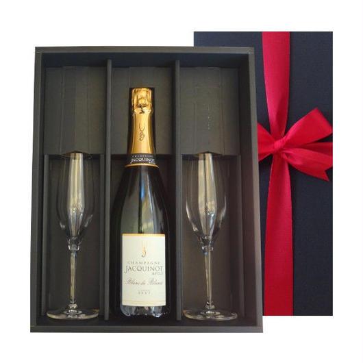 老舗シャンパンブランドのシャンパン「ブラン・ド・ノワール」とペアグラスセット