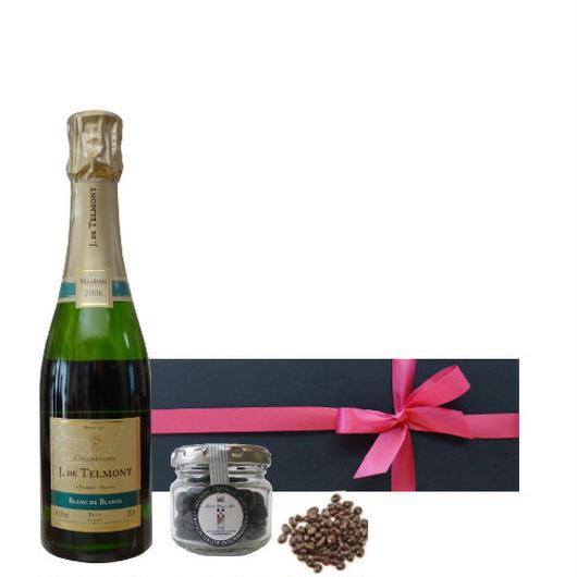お酒入りのチョコレートとヴィンテージのシャンパンギフト、フランスの高級シャンパーニュ「ブラン・ド・ブラン」ハーフボトル、ミレジメ2006年 と 貴腐ワイン漬けレーズンチョコレート