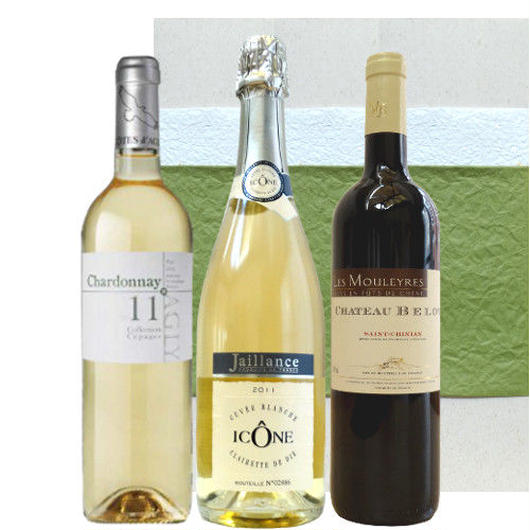【ワインセット】 フルーティーで優しい味わいを楽しめるフランスワイン3本セット - スパークリングワイン、南フランスの赤白ワイン(750ml×3本)