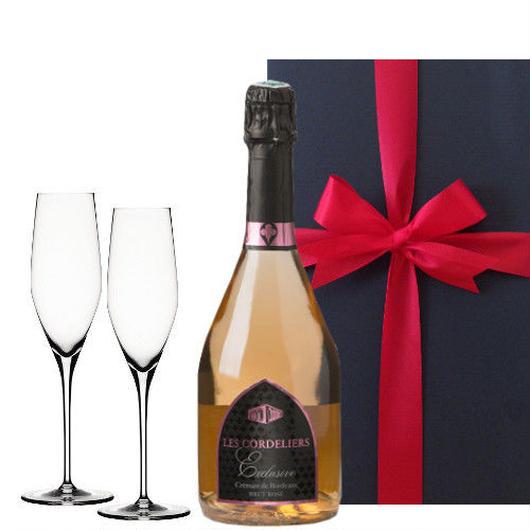 【シャンパングラスセット付き】結婚祝い 記念日 プレゼント 女性に人気のロゼワインとペアシャンパングラスセット