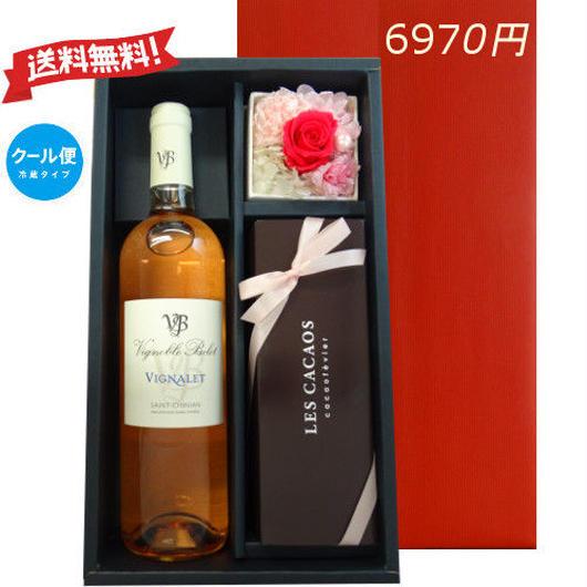 ワインとスイーツ、お花のギフトセット