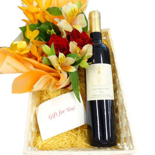 赤ワインとお花のセット黄色とオレンジのフラワー オーガニック ビオワイン 南フランス ハーフサイズボトル
