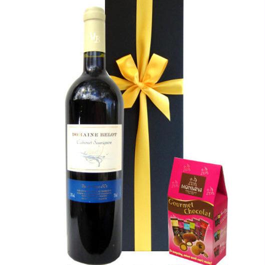 南フランスのしっかりした果実味が味わえる赤ワイン2014年(750ml)とフランスチョコレートのセット