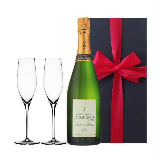 人気の贈り物 シャンパンとペアグラスセット