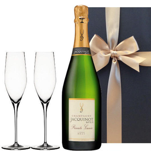 【シャンパンとグラスセット】フランスの辛口シャンパーニュ「キュヴェ・プリヴェ」とシャンパングラス2個、ギフト箱付き