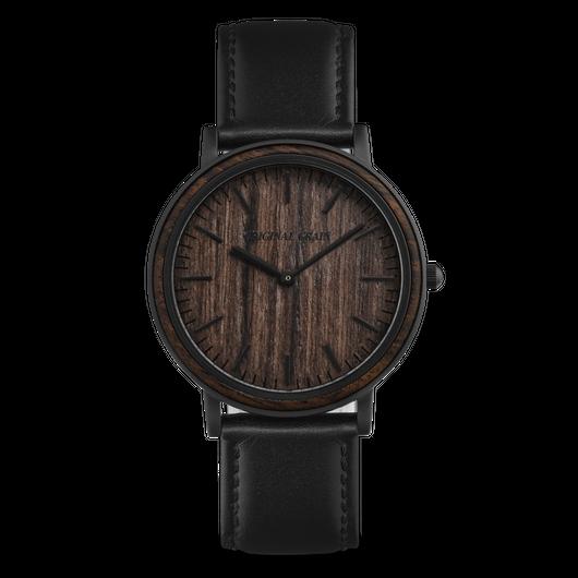 The Minimalist - Ebony/Matte Black/Black Leather Band/Wood Dial