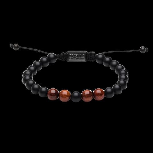 Macrame Bracelet 8mm - Rosewood/Onyx