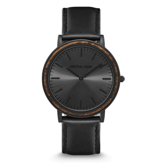 The Minimalist - Ebony/Matte Black/Black Leather Band