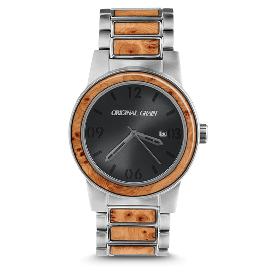 The Barrel 42mm - Brushed Silver/Burlwood