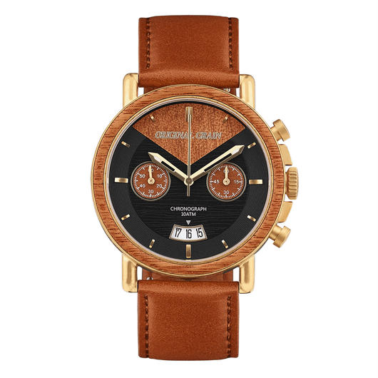 The Alterra Chronograph - COGNAC (Mahogany/Antique Gold/Cognac Italian Leather Band)
