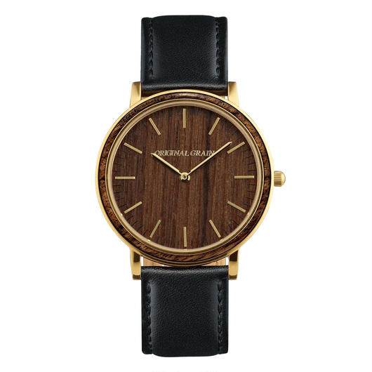 The Minimalist - Ebony/Gold/Black Leather Band/Wood Dial