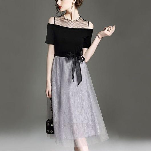 オフショルダー風ホルターネック ミディアム丈ドレス J28-wanpi
