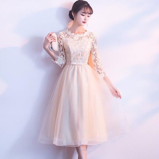 七分袖 花柄レース ミディアム丈ドレス A008-ye-sisyu