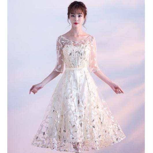 五分袖 スパンコール ミディアム丈ドレス B011-spansishu
