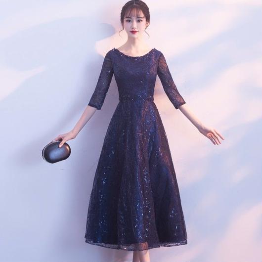 五分袖 花柄スパンコール ミディアム丈ドレス B016-4c-rame