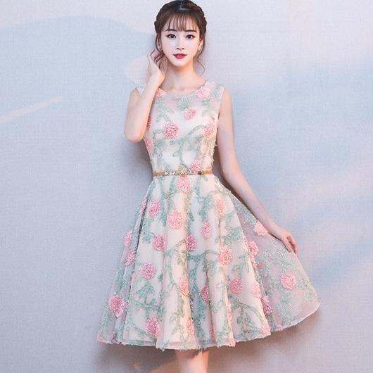 レース 花模様 ミディアム丈ドレス B017-flower