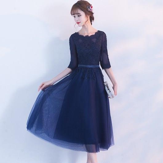 フラワーレースシフォンスカート ミディアム丈ドレス B013-4c-dress