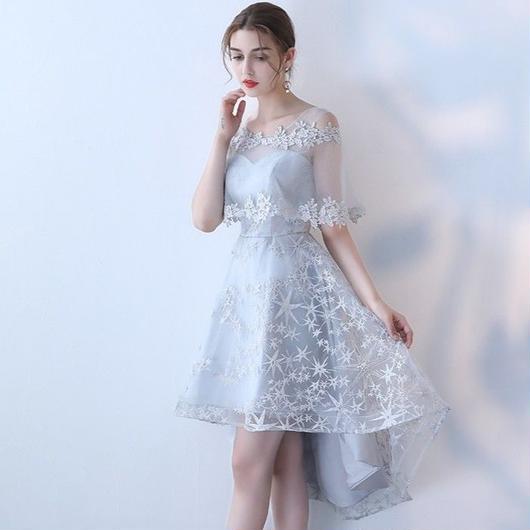 花柄刺繍 ケープ付き フィッシュテールミディアム丈ドレス