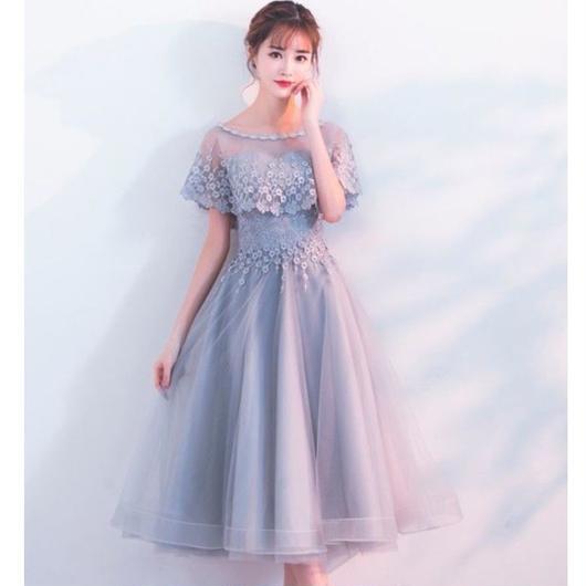 花柄レース ベアトップケープ付き ミディアム丈ドレス B018-cape