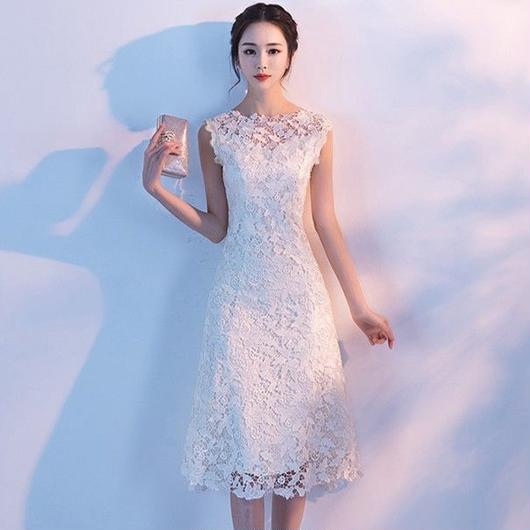 フラワーレース ミディアム丈スリムドレス J22-white