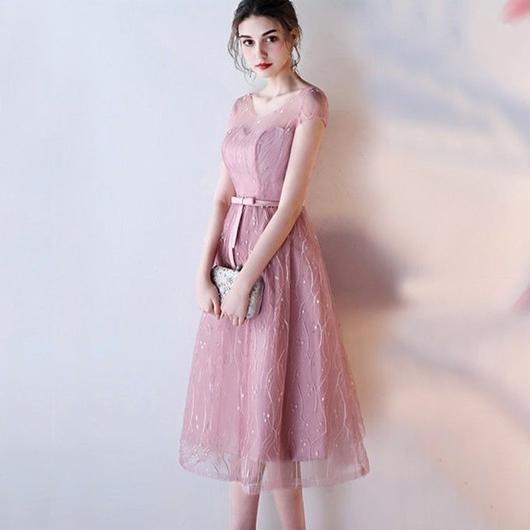 ハートカット シースルー ミディアム丈ドレス J24-pink