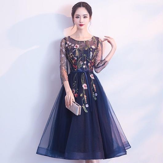 花柄 刺繍 シースルー ドレス  ミディアム丈  A001-flower
