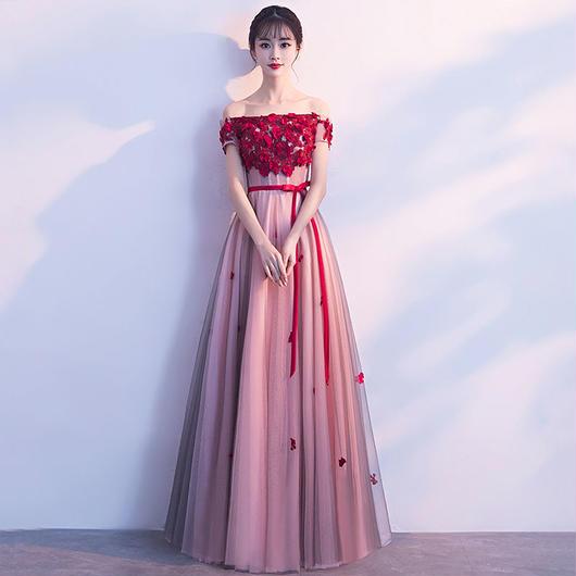 オフショルダー編み上げフラワー ロング丈ドレス J29-rong-rose