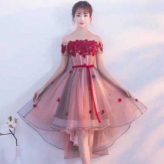 オフショルダー 編上げ フラワー パーティードレス  A003-red-flower