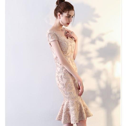 ギャザーレース マーメード ミディアム丈ドレス B020-mermaid