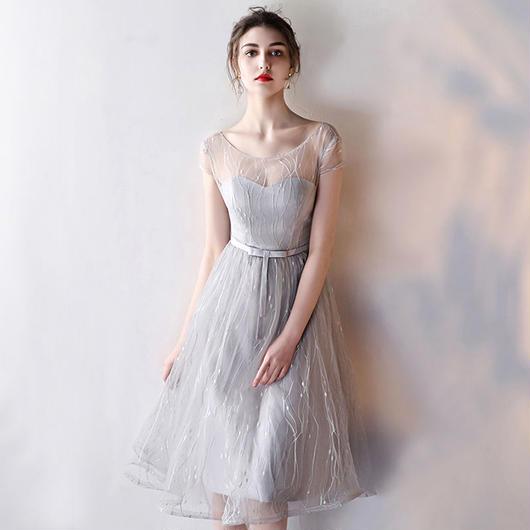 ハートカット シースルー ミディアム丈ドレス J23-silver