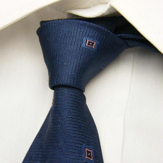 【MEN'S GRACE】シックに決めたい! ブルー系小紋柄ネクタイ【青系】【USED】1600625-009