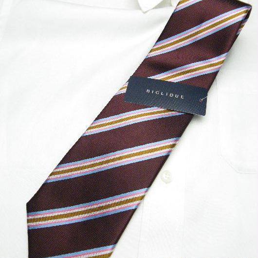 新品|ブラック系スーツに◎|BIGLIDUE(ビリドゥーエ)|エンジ・スカイブルー系レジメンタルネクタイ|シルク100%|201704