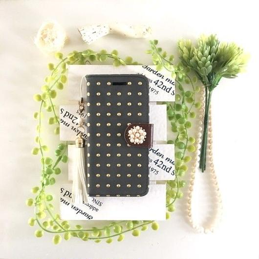 (pajour) ブラック ゴールドエンボスドット柄 スエード調手帳型 ケース