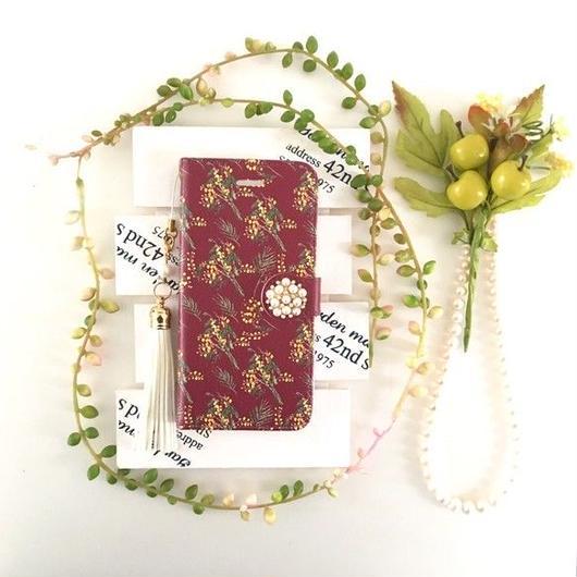 (pajour)こっくりボルドー色ミモザ柄手帳型スマホケース 【pajour 】【花柄】【mimosa】