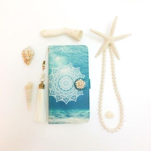 PAJOUR 深海のやすらぎ柄 手帳 型 スマホケース(ドライブラシ)