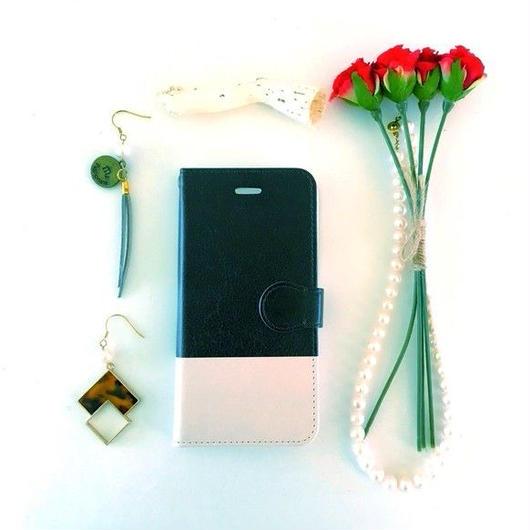(pajour) 2トーン ブラック & ベージュ 柄 手帳型スマホケース ビジュー無し iphone/Xperia