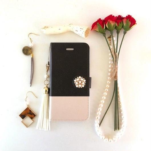 (pajour) 2トーン ブラック & ベージュ 柄 手帳型スマホケース iphone/Xperia/全機種