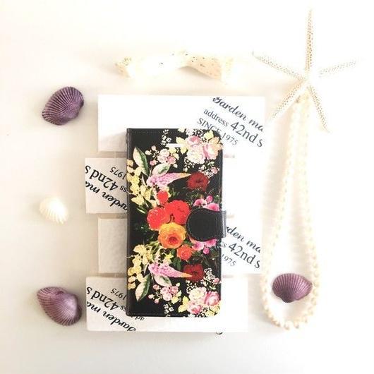 ブラック ヴィンテージブーケ柄 手帳型 スマホケース【iPhone】【pajour 】【花柄】【秋冬】ビジュー無し