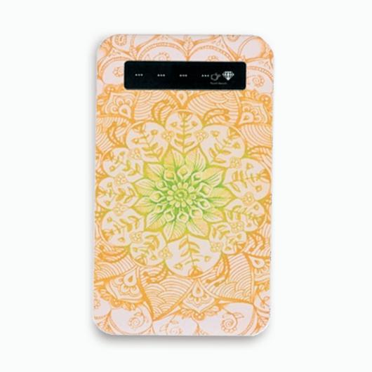 【pajour 】( ブライトオレンジ ) ロータス 柄 モバイル バッテリー ( スマホ ) ( 充電器 )
