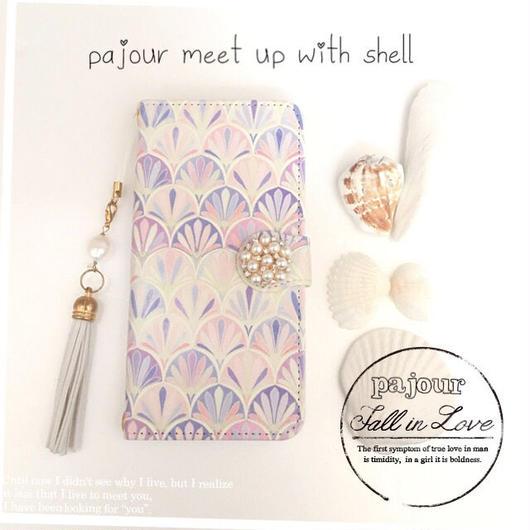 pajour(パジュール) ピンク モロッカン シェル柄 手帳型 ケース