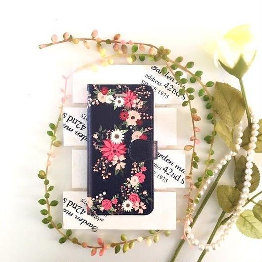 (pajour) ネイビー レトロボタニカル花園柄 手帳型 ケース ビジュー無し 【秋冬 】【花柄】