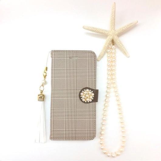 ハバナブラウン グレンチェック 柄 手帳型 スマホケース【iPhone】【チェック】【pajour 】【千鳥格子】
