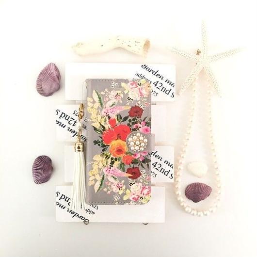 グレージュ ヴィンテージブーケ柄 手帳型 スマホケース【iPhone】【pajour 】【花柄】【秋冬】